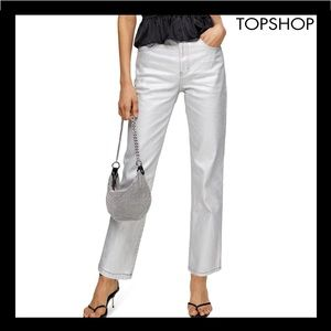 NEW TOPSHOP SILVER FOIL HIGH WAIST STRAIGHT JEANS
